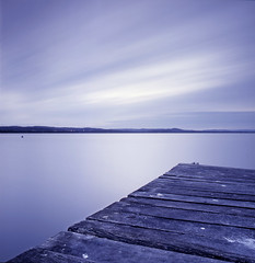 ... (zane&inzane) Tags: wood longexposure blue sunset cloud lake seascape blur water t landscape 50mm slow timber jetty australia slide scan hasselblad velvia nsw transparency fujifilm desaturated 500cm v700 2min longjetty 50f4