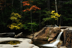 Diana's Bath (Polimom) Tags: autumn reflection fall water leaves newhampshire foliage flowing whitemountainnationalforest challengeyouwinner