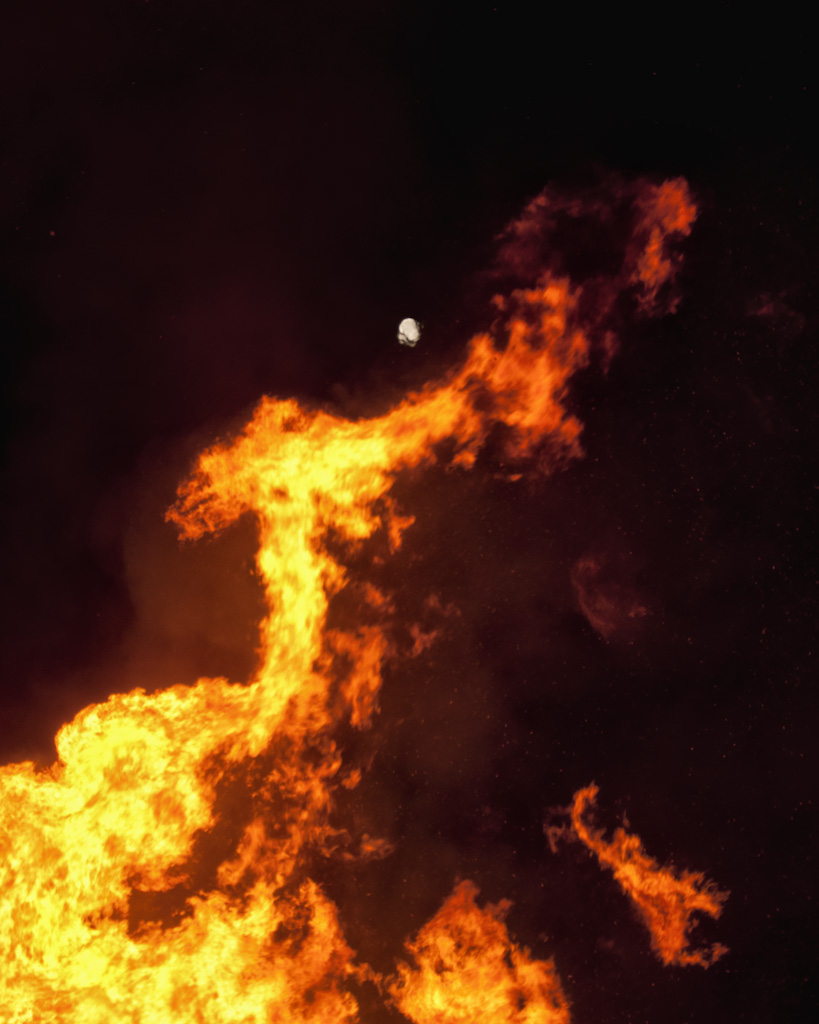 Flames licking the Moon
