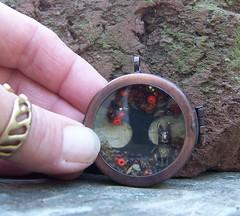 Shadowbox Pendant II (cadeswelkin) Tags: autumn bunny miniature harvest porthole falltree cadeetsyjewelryalteredarttowear