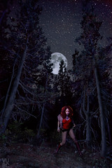 She Wolf (Ben Canales) Tags: she trees red sky moon werewolf night forest dark stars twilight wolf full fullmoon midnight lunar starry shewolf bencanales thestartrail