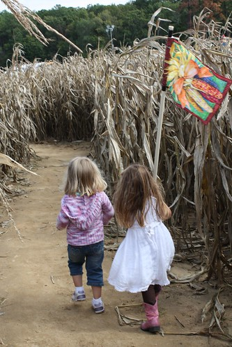Catie & Elizabeth lead the way through the corn maze