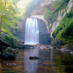 ... ([Anthony T.]) Tags: longexposure summer usa mist reflection 6x6 landscape waterfall nc cool minolta september 120film polarizer kodakportra160vc blueridgeparkway qqq lookingglassfalls autocord epsonv700 seikosha autopole betterscanningcom mp412 199258 httpelementsandgroupsblogspotcom rokkor75mmf35lens