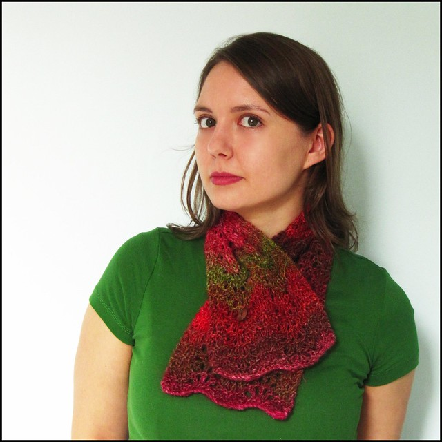 green and red autumn colours feather and fan; knit, knitting, handknit, handmade, noro silk garden, green, red, brown, orange, scarf, scarflette, neckwarmer, etsy, folksy, artisan, craft