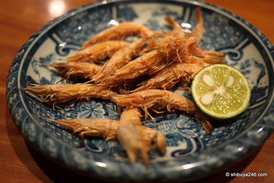Prawns from Setonaikai, eaten with the shells on. Very good and crispy!