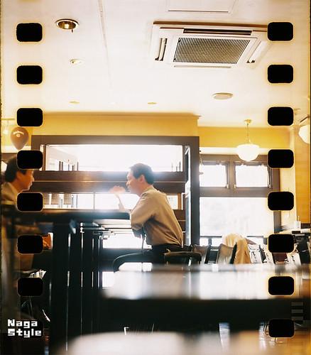 喫茶店にて。