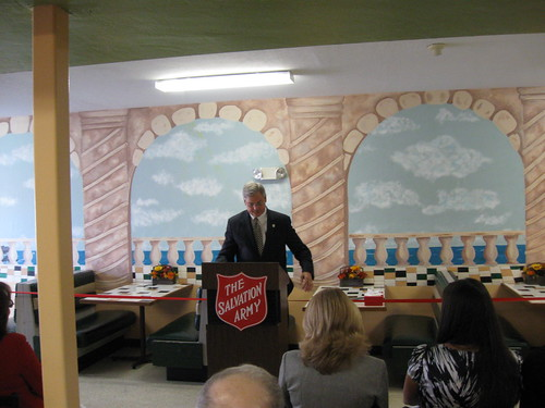 "Fort Myers Mayor Randy Henderson Addresses The Crowd At The Ribbon Cutting Ceremony At The Salvation Army's New Cafe ""Sally's Cafe"""