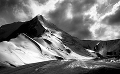 Material light (csunt) Tags: light white snow black mountains ice rock clouds blackwhite shadows pamir