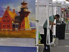 Art and Life (AntyDiluvian) Tags: autumn urban lighthouse art fall boston painting massachusetts artists artisans southend streetmarket bostonist vendors openmarket hopperesque sowa harrisonavenue sowaopenmarket southofwashington