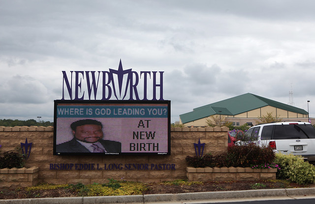 Billboard of Eddie Long at New Birth Missionary Baptist Church