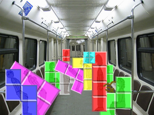 vagon de metro, Version tetris