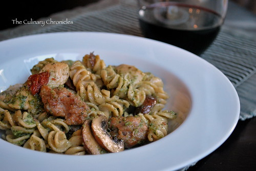 Almond Pesto Pasta with Chicken & Italian Sausage