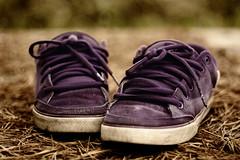 Gone through alot. (CisForCare) Tags: white canon vintage lens 50mm woods shoes purple floor low inspired depthoffield f18 circa laces skatershoes 450d