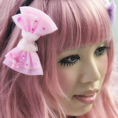 GIRLISH (ajpscs) Tags: street pink portrait color girl face fashion japan hair asian japanese tokyo nikon asia eyelashes cosplay streetphotography lips harajuku kawaii  nippon  ribbon    d300    ajpscs kosupure streetphotographycandidstreetportrait