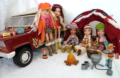 Bratz Campfire Winter Adventure Dolls Set (migglemuggle) Tags: 2005 pink winter red terrain orange green hat yellow scarf out fur back belt bush doll dolls all dress jeep 4x4 dana mini skirt off used adventure campfire phoebe jacket gloves outback yasmin wilderness corduroy cruiser mitten bratz cruizer cloe roader vechicle meygan