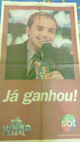 Anúncio Domingo Legal. Ganhar já era rotina. 01/10/2000