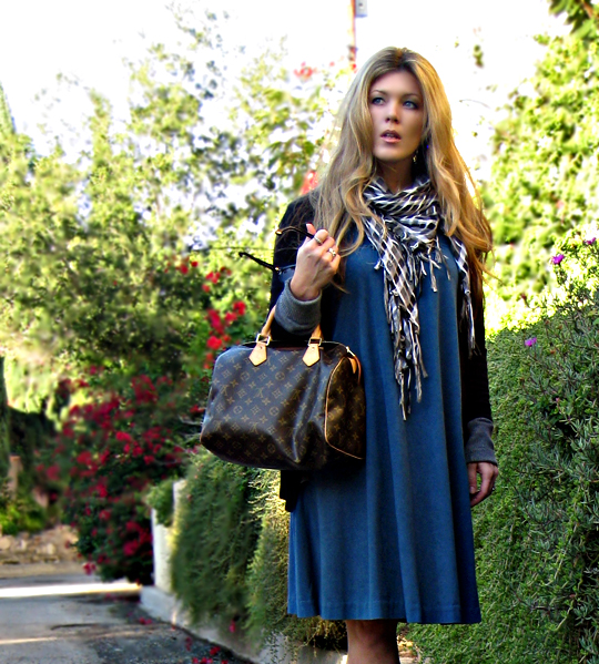 louis vuitton speedy+vintage ultra suede dress+long blonde hair+style+fashion+los angeles+LA style