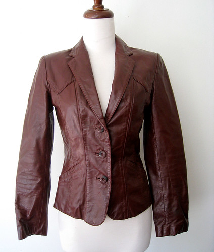 Vintage Leather Blazer Jacket, 1970's