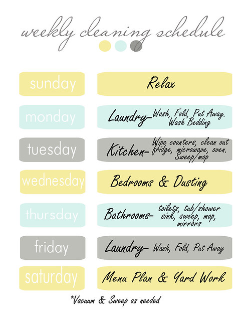 weekly cleaning chart-mine