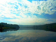 Morning by the lake (TinaOo) Tags: morning summer sky lake water sweden
