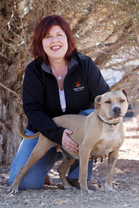 Patty Hegwood, Animal Care Director at Best Friends Animal Society, with dog