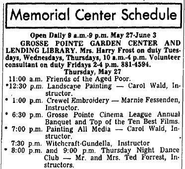 Witchcraft Course at the Grosse Pointe Memorial Center May 27, 1971 @ 7:30 PM