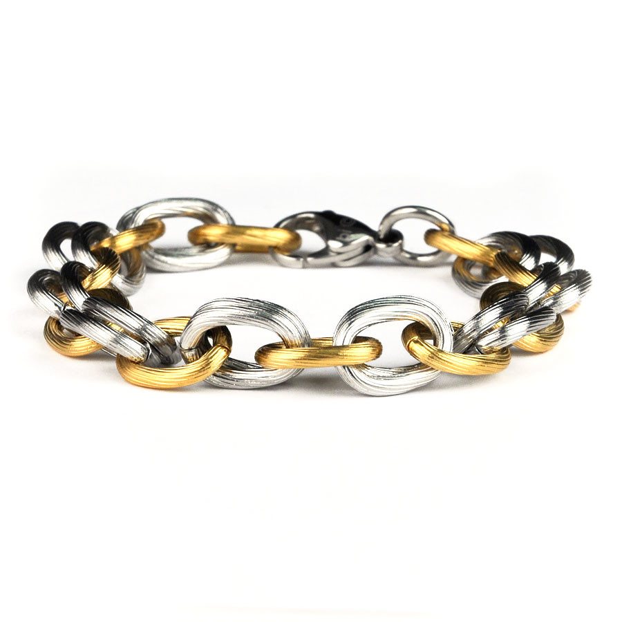 Stainless Steel Link Chain Bracelet Two Tone