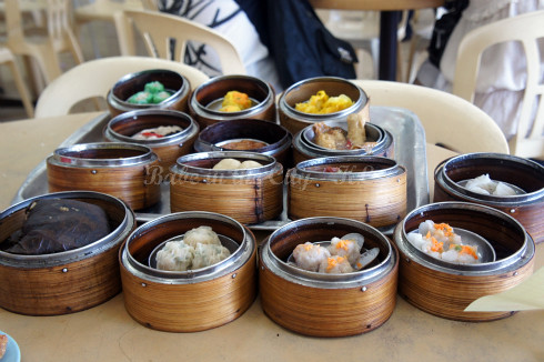 Steamed dim sum baskets for selection