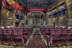 The Show Must Go On (Frank C. Grace (Trig Photography)) Tags: cinema movie theater play theatre pentax decay balcony empty stage grunge curtain fisheye balconies hdr k5 photomatix tonemapped defish