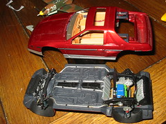 Dry-fit of Fiero body, interior; motor, chassis (wbaiv) Tags: monogram 85 fiero gt 124 body interior chassis engine car automobile vehicle testors nontoxic plastic model cement blue label liquid tube for kits water based paint building models kit scale replica modelsibuild mymodels red