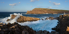 Panoramic view on the rugged North coast of Menorca (Bn) Tags: menorca high waves smashes hit water sea strong wind north coast dramatic rugged cliffs rocky smashing power