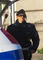 Palermo - Polizia Municipale (florimund) Tags: red portrait italy woman sexy face sunglasses lady army donna eyes uniform italia police lips mature sicily frau palermo sicilia polizia