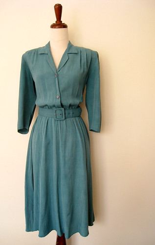 Faded Teal Full Skirt Cool Rayon Dress, vintage 80's
