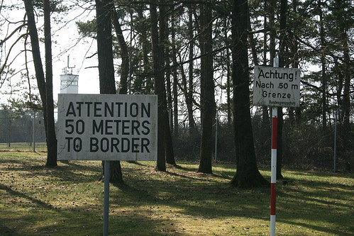 Attention - 50 meters to border