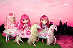 starry starry night of pinkdom (launshae) Tags: snowflake pink girl night heaven factory blythe starry ichigo sonata pinkdom launshae