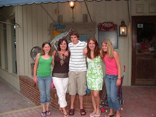 My family outside the Crazy Crab in Hilton Head during our spring break in 2004. (Left to right) Tory, Jeanne, Robbie, Stefanie and Taylor