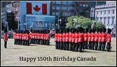 Happy 150th Birthday Canada!!! (bigbrowneyez) Tags: tribute dedication birthday happycanadaday happy150thcanada happy150thbirthdaycanada happybirthdaytoyou ottawacanada canada celebration festive festivities party festa compleanno flag bandiera mounties canadianmountedpolice canadian special activity hats furry uniforms uniform buildings rifles dof changingoftheguards tradition exercises beautiful colourful red rosso