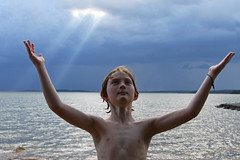 Ray of Hope (babyfella2007) Tags: lake monticello grant jason carson sun light cloud swimming water swim exploring fairfield county winnsboro child messianic boy young blue beach waterfront sc south carolina southern living garden gun goob good pretty storm ray rays sunlight beam outside