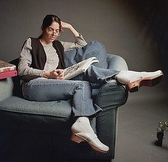 Kelly Studio Promo 2 (neohypofilms) Tags: studio portrait promotion girl actress model character light jeans denim shoes clogs glasses film 120 medium format hasselblad couch 70s retro vintage