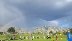 Rainbow at the baseball game (Aggiewelshes) Tags: june 2017 phone s6 olsen baseball landscape scenery clouds rainbow