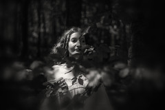 Mysterious (i-r-paulus) Tags: dark victorian moody blackandwhite monochrome woodland hembury dartmoor leaves shadow portrait mysterious girl