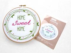 Wreath Embroidery Pattern, Home Sweet Home Hoop Art, Pink Embroidery Kit, Pre Printed Fabric Needlework Pattern, Needlecraft Tutorial Kit by OhSewBootiful (ohsewbootiful) Tags: embroidery etsy etsyuk gifts giftsforher homedecor hoopart fiberart handembroidery handmade etsyseller embroideryhoop shophandmade handmadegifts decor wallhanging bestofetsy