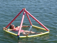 Floating octahedron made from spare pool noodles