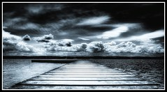West Kirby,Wirral (Hazeldon73- catching up !) Tags: white black water clouds mono moody jetty dramatic toned hdr wirral westkirby