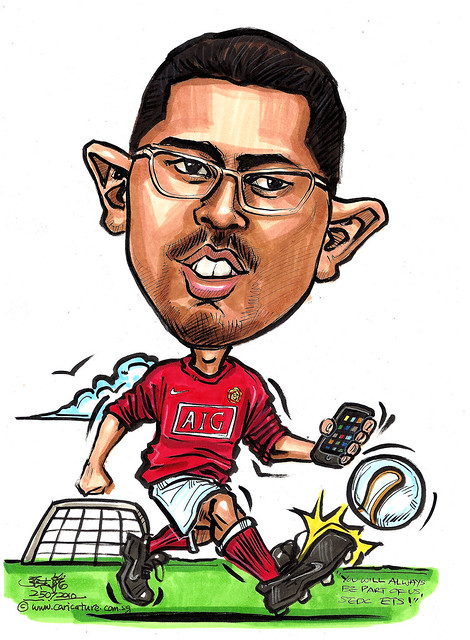 Manchester United soccer caricature with iPhone for People's Association