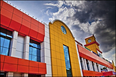 Railway station (Kals Pics) Tags: sky orange india station yellow clouds canon perspective clocktower railwaystation hdr tamilnadu coimbatore 50d 18200is