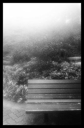 HK Park Bench - Black & White Effect plus my lens was still foggy lol