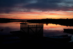 Tjøme Sunset (fairminer) Tags: sunset red sea sky orange reflection water silhouette norway ferry clouds fence islands boat norge seaside ship himmel shore fjord vann hav solnedgang sjø tjøme skjær williamfairminer