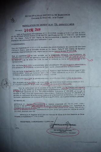 Carta de la Municipalidad de Barranco