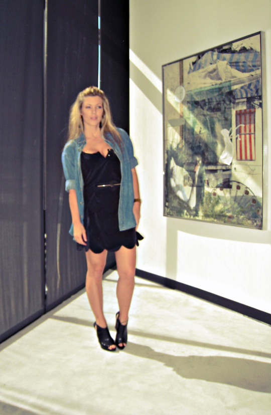 black dress and denim shirt+wedges+art+cc